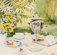 the tea table is ready in the garden at knudsminde farm by olga (grand duchess) alexandrovna