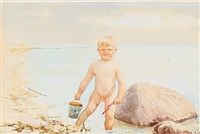 olga's youngest son, guri kulikovsky, playing in the shallows by olga (grand duchess) alexandrovna
