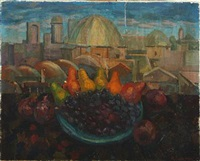 still life with fruits, in the background view over samarkand by igor vasilevich uzhinsky