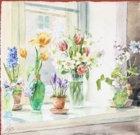 spring flowers in a window sill by olga (grand duchess) alexandrovna