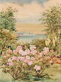 view from hvidøre castle towards vedbæk village, in the garden flowering rhododendron by olga (grand duchess) alexandrovna