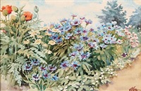 flowers in a garden by olga (grand duchess) alexandrovna