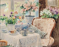 the coffee table at knudsminde farm, denmark by olga (grand duchess) alexandrovna