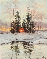 russian winter landscape at sunset by olga (grand duchess) alexandrovna