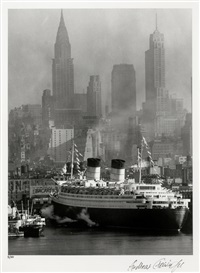 queen elizabeth in new york harbor by andreas feininger