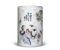 浅绛彩人物纹笔筒 by ma qingyun