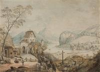 verträumte seelandschaft mit mittelalterlicher kleiner burg auf felsvorsprung by johann jakob aschmann