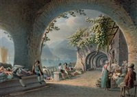 südliche seelandschaft mit handelsleuten unter arkaden by mathias gabriel lory