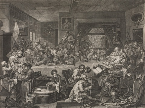 four prints of an election (album of 4) by william hogarth