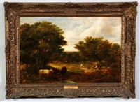 three cows in foreground and six figures in a wooded clearing by john constable