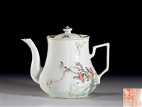 浅绛彩花鸟纹茶壶 by xian cha