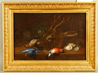 still life with deer, birds, and oyster by johann adalbert angermayer