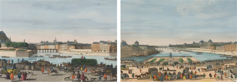 a view of paris taken from the middle of pont neuf towards pont royal a view of paris from the church of nostre dame to the pont de la tournele taken from the quai de miramion smllr 2 works by jacques rigaud