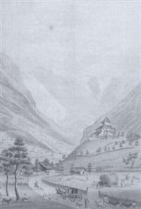 vue du château tellenbourg chatellanie de frutigen au canton de berne, et du chemin par le vallon by abraham samuel fischer