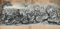 war scenes with alexander the great (3 works) by gérard audran