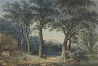 südliche flusslandschaft mit figuren- und tierstaffage by ludwig hess