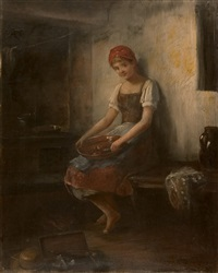 a young girl with red head cover by caspar ritter