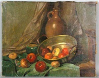 dutch still life with apples by frits hubeek