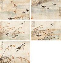 芦雁图册 (五幅) 昼心 (album of 5) by bian shoumin