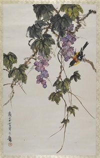 grapes and bird by huang huanwu