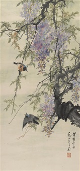 wisteria and birds by qiao mu