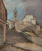norditalienisches städtchen mit kirche by mathias gabriel lory