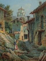 bergdorf mit kirche by mathias gabriel lory