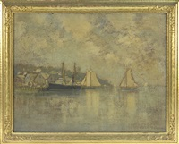 harbor scene, mostly likely gloucester by eugene leslie smythe