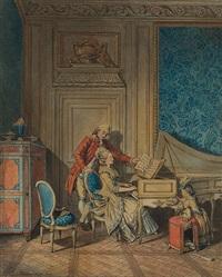 zwei galente szenen. musizierende paare (2 works) by sigmund freudenberger