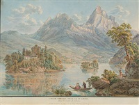 l'isle de schwanau sur le lac de lowerz, dans le canton de schweiz by gabriel ludwig lory
