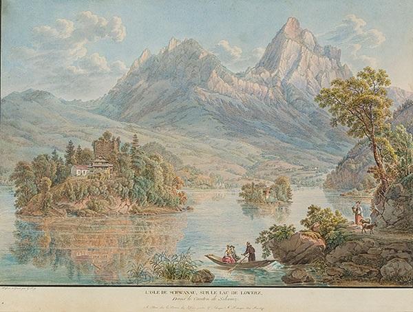 lisle de schwanau sur le lac de lowerz dans le canton de schweiz by gabriel ludwig lory