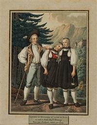 costumes du guggisperg au canton de berne. costumes du canton d'argovie (2 works) by joseph reinhard