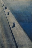 wharf with fisherman on a mooring post by léon spilliaert