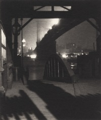 brooklyn bridge from ferry slip, evening by karl struss