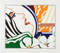 bedroom face with orange wallpaper by tom wesselmann