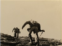 loyalist soldiers running up hill, battle of rio segre, aragon front (near fraga), spain, november 7 by robert capa
