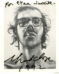 signed and dedicated postcard of self-portrait by chuck close