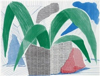 green grey & blue plant, july by david hockney