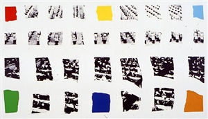 two assemblages (with r, o, y, g, b, v opaque) by john baldessari