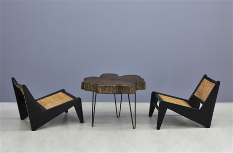 tree trunk coffee table and kangaroo chairs by pierre jeanneret