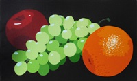 still life with orange, grapes and red apple by julian opie