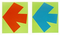 blue over green; orange over green (2 works) by ellsworth kelly