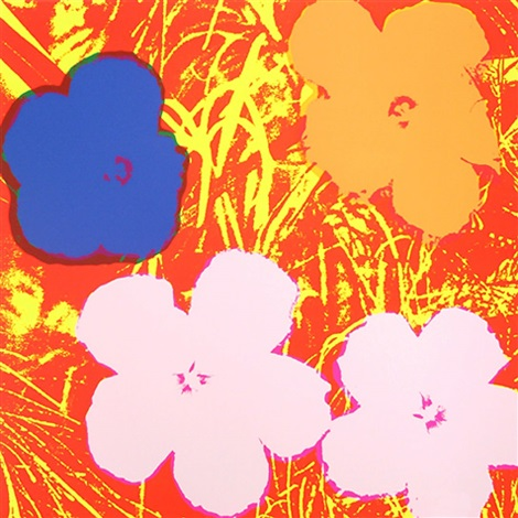 andy warhol flowers 1970 fs 69 orange blue pink flowers against orange background