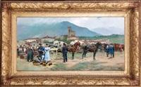 entrada del pueblo con soldados y caballos en el mercado by josep (josé) cusachs y cusachs