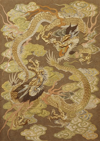 Japanese Silk Embroidery With Dragons Late 19th Century On Artnet