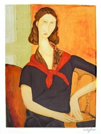 jeanne hebuterne with a scarf by amedeo modigliani