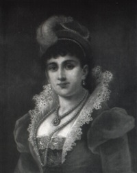 portrait of a woman in velvet and pearls by adèle riché