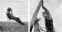 james dean on the set of 'giant' (2 works) by frank worth