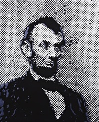 lincoln, after brady (from pictures of ink) by vik muniz