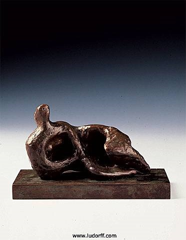 reclining figure curved: rough by henry moore